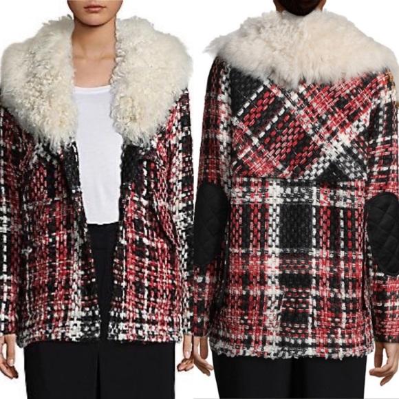 Rag & Bone Antoine Weave Fur-Trimmed Plaid Jacket